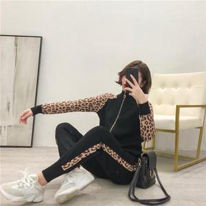 Image 3 - Kobiety dresy nowy 2019 wiosna dzianiny zestawy dwuczęściowe Slim Zipper Cardigans kurtka + długie spodnie garnitury kobieta Leopard Sportsuits
