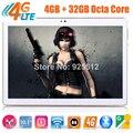 2017 Mais Novo de 10 polegada 3G 4G LTE FDD tablet Octa core 1920*1200 IPS HD 8.0MP 4 GB RAM 32 GB ROM Android 6.0 GPS tablet de 10 10.1 + presente