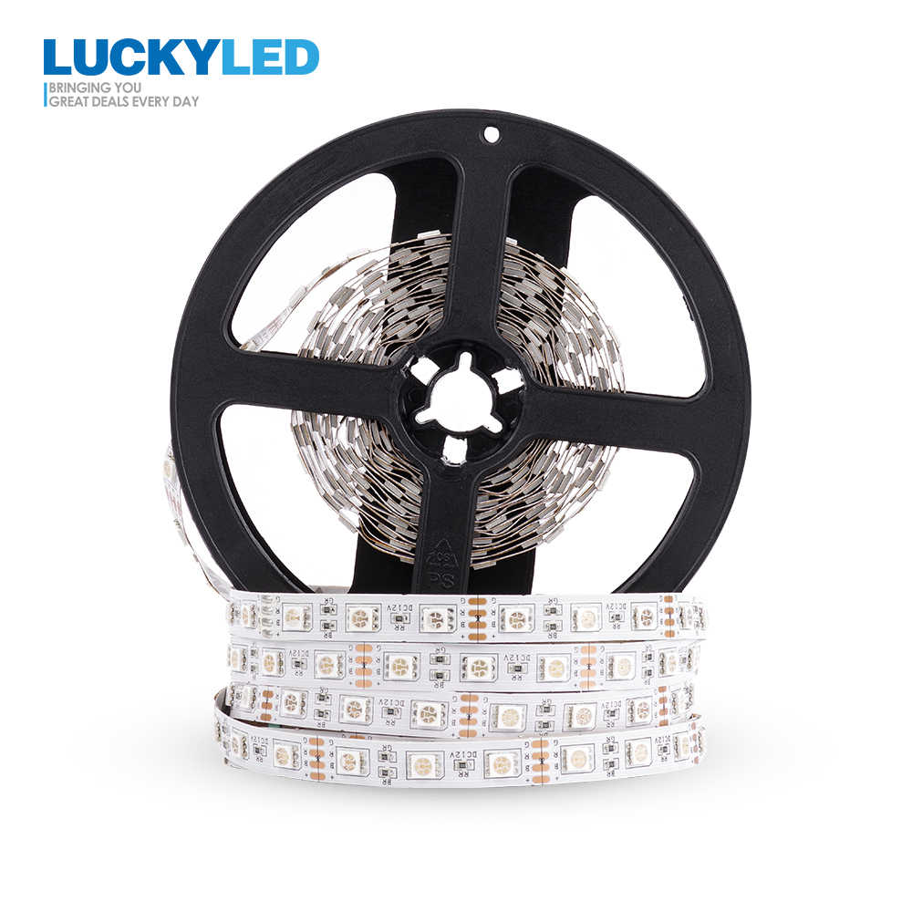 LUCKYLED 5 M tira de LED 12 v RGB impermeable SMD 5050 2835 diodo RGB cinta Flexible LED tira de luz 60 leds/m LED La Raya