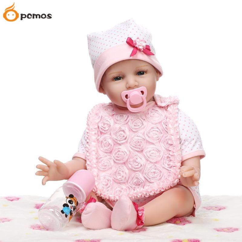 55cm/22 Lifelike Smile Pink Girl Reborn Dolls Vinyl Handmade Realistic Baby Toys Child Kids Birthday Holiday Gift [sgdoll] 22 lifelike smile pink girl reborn dolls vinyl handmade realistic baby toys child kids birthday holiday gift 16062417