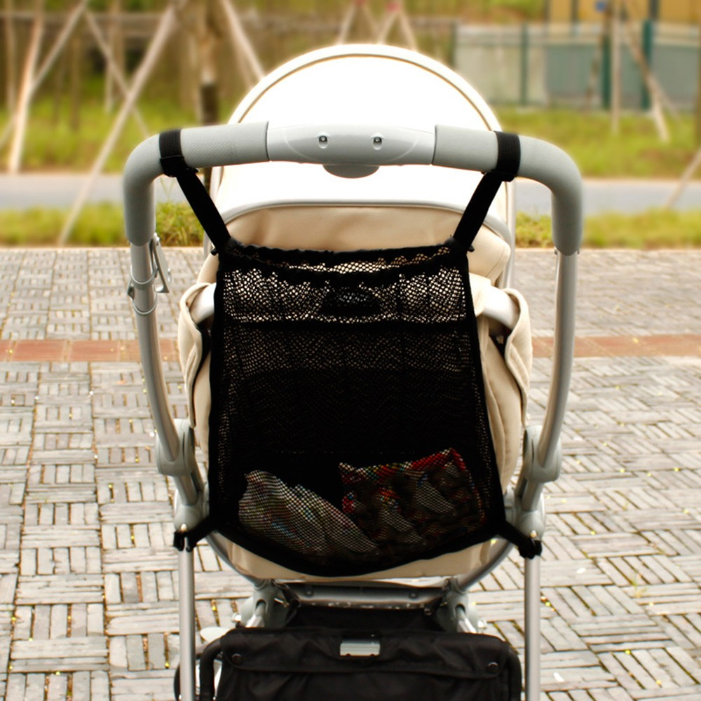 Baby Stroller Net Pocket Infant Stroller Mesh Bottle Diaper Storage Organizer Bag Holder Large Size Hanging Stroller Accessories(China)