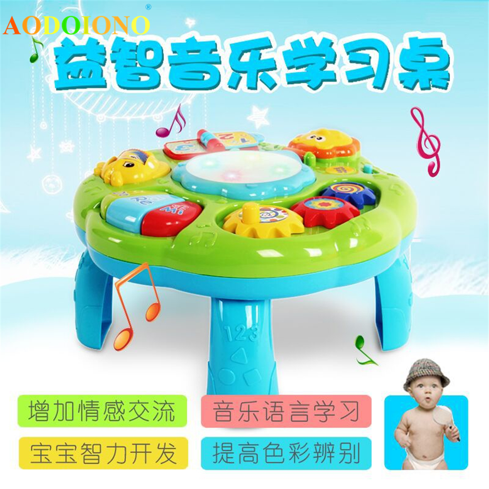 Baby Music Learning Table Multi-functional Game Table for Toddlers with Colorful Light Sound Early Educational Toy for Kids Baby