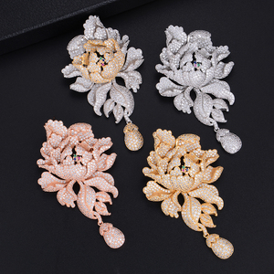 Image 3 - GODK 76mm Luxury Peony Flower Blossom Cubic Zirconia Women Statement Long Drop Earring Wedding Party Bridal Fringed Jewelry Gift