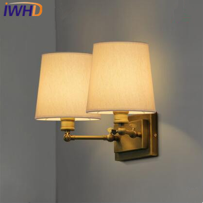 IWHD Nordic LED Wall Lamp Brass Copper Wall Lights Fabric Lampshade Bedside Sconce Fixtures For Home Lighting Arandela Luminaire modern lamp trophy wall lamp wall lamp bed lighting bedside wall lamp