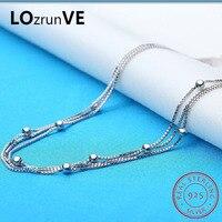 LOZRUNVE Original 2018 Brand S925 Sterling Silver enkelbandje Fashion Box Chain Beads Anklet Women Wholesale