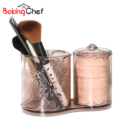 BAKINGCHEF Double Cylinder Storage Box Makeup Brush Cotton Pad Desktop Organizer Accessories Supplies Gear Product