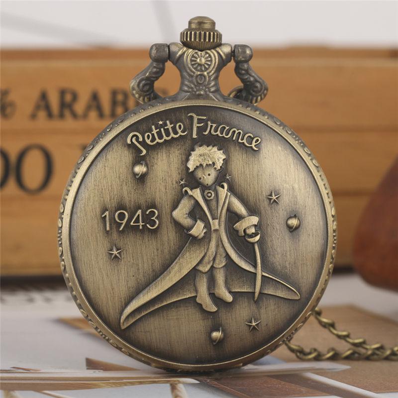 Mały książę kieszonkowy zegarek pełny Hunter Dial chłopcy zegarki kwarcowe stop łańcuszek wisiorek zegar dla chłopców Montre Gousset Relogio