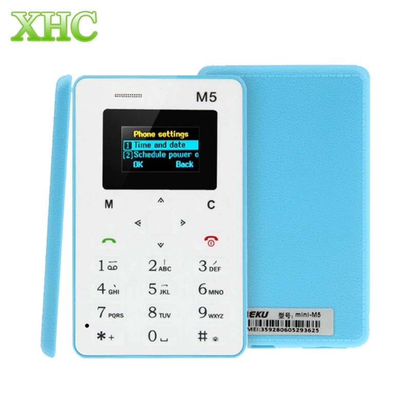 AEKU M5 GSM 2G Card Mobile Phone 4 5mm Ultra Thin Pocket Mini Phone Ultra low