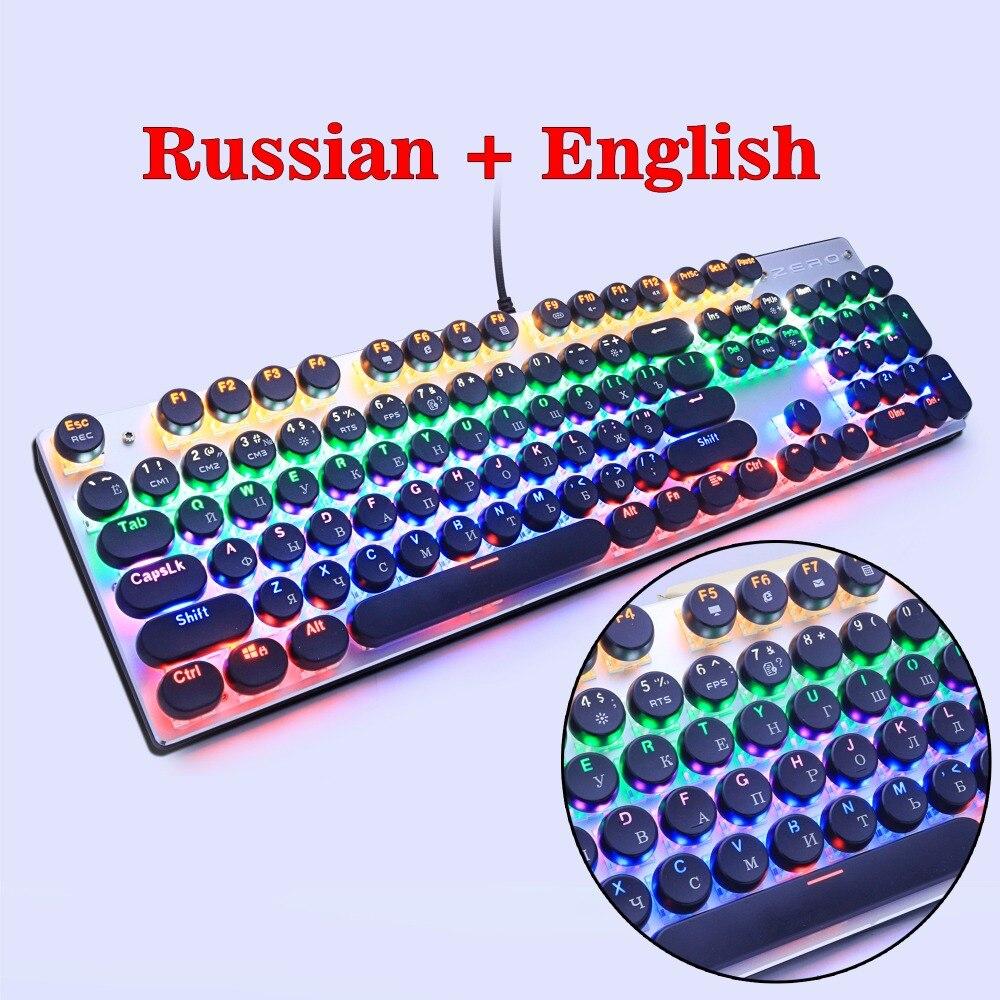 METOO ZERO Gaming Tastiera Meccanica Blu/Nero/Rosso Retroilluminazione Interruttore Anti-ghosting Teclado Wired USB per Gamer russo/Inglese