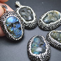 Natural Labradorite Carved Skull Stone Pendant Paved Crystal Beads on Side Fit Necklace Making 5PC/Lot