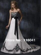 Black Lace Wedding Dress Strapless A line Empire Organza Appliques Unique Design Vintage Black Sash Bridal Gown