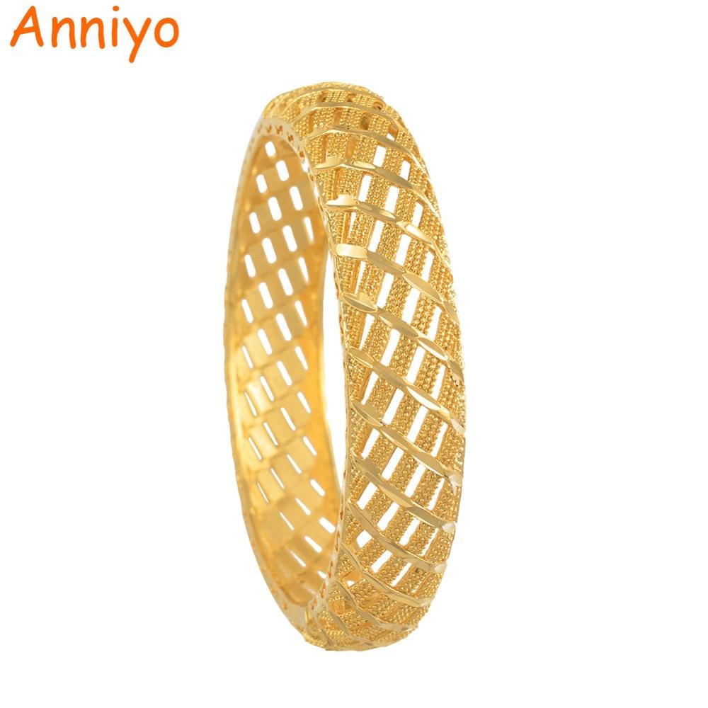 Anniyo 6cm/2.36inch Dubai Style Bangle for Women Wedding Gold Color Ethiopian Bracelet Classic African Party Gift #073106