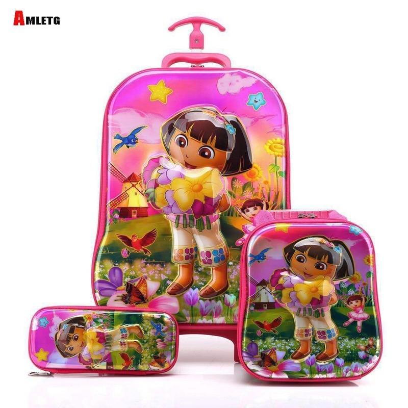 купить Brand 3d Boy Anime Trolley Bus Box Child Ladder Luggage Travel Rolling Luggage Girl Cartoon Pull Box Baby Pencil Case Duffel по цене 2468.31 рублей