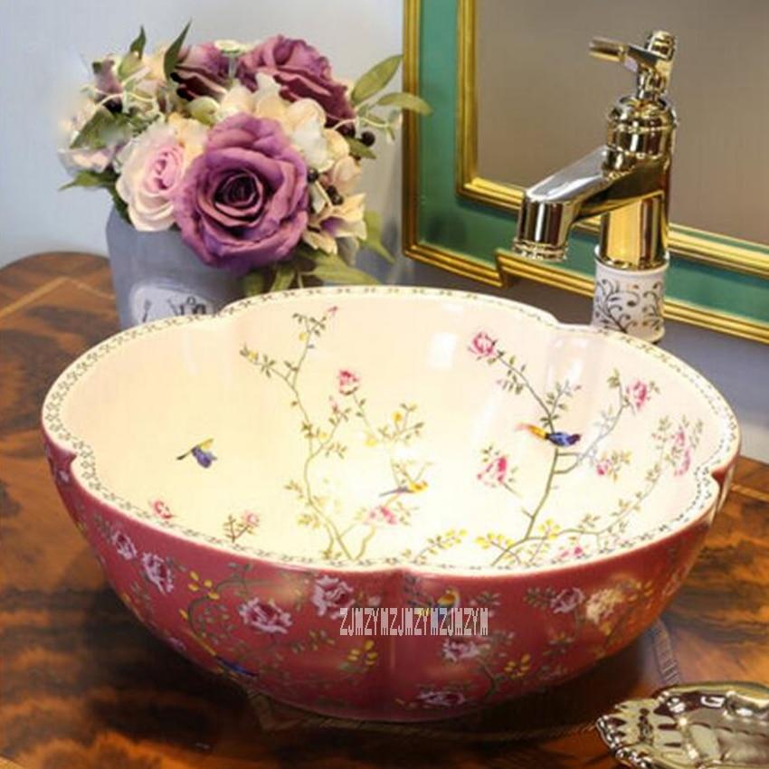 European-style Home Ceramic Counter Top Wash Basin High-quality Household Wash Basin Art Bathroom Wash Sink Ceramic Washbasin