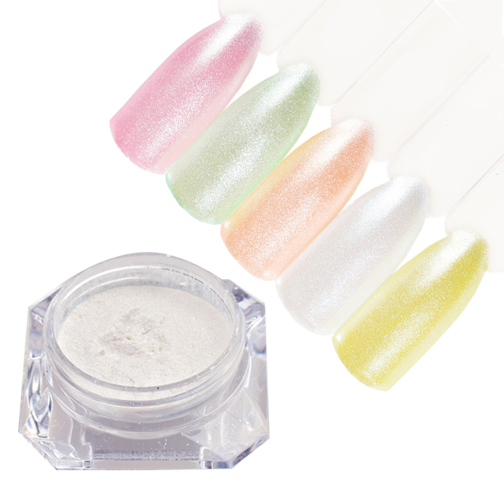 1Box 1g Mermaid Pearl Effect Nail Glitter Powder Shimmer Chrome Pigments Manicure Dust Nail Art Glitter Powder Decorations LAM09