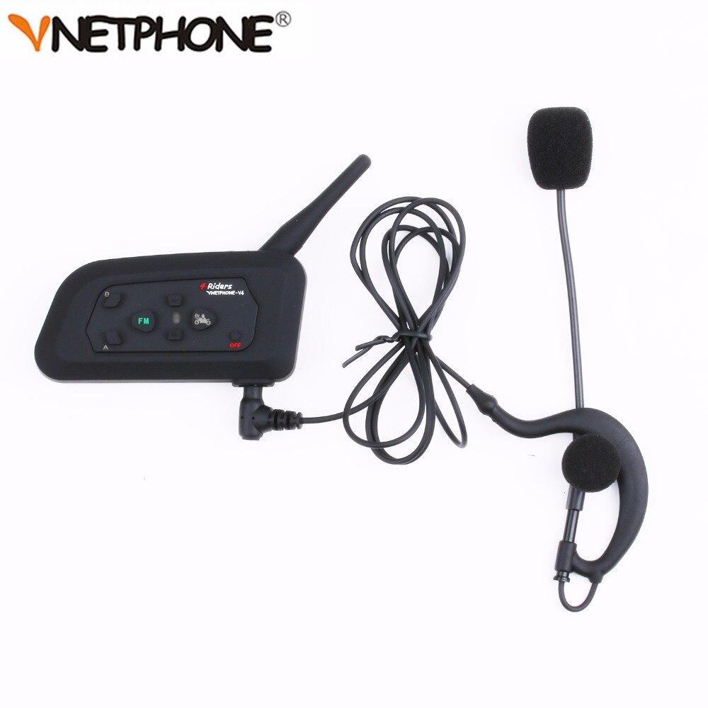 2 x Vnetphone V4C 2017 New Football Referee Earhook Earphone Bluetooth Intercom Headset 1200M Full Duplex Headphone & FM Radio