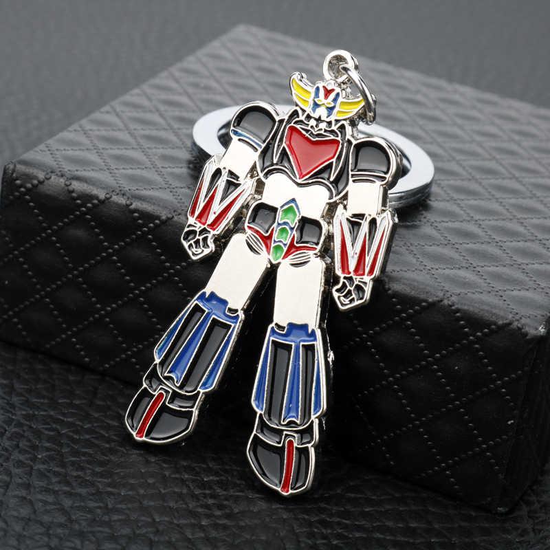 Animação Dos Desenhos Animados UFO Grendizer Robot Keychain Anel Chave Do Carro Dos Homens Das Mulheres de Jóias Criativa Keyholder Artesanal Trinket Keyfob