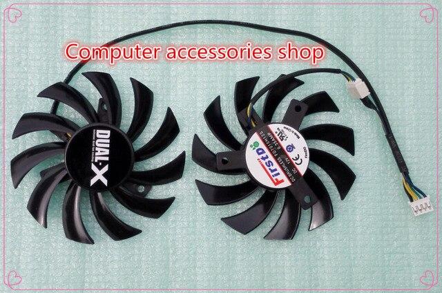 NEW original Firstd FD7010H12S 75mm Video Card Dual Fan 40mm 12V 0.35A 4Wire 4Pin for Sapphire AMD Dual-X HD6950 HD7790 HD7850