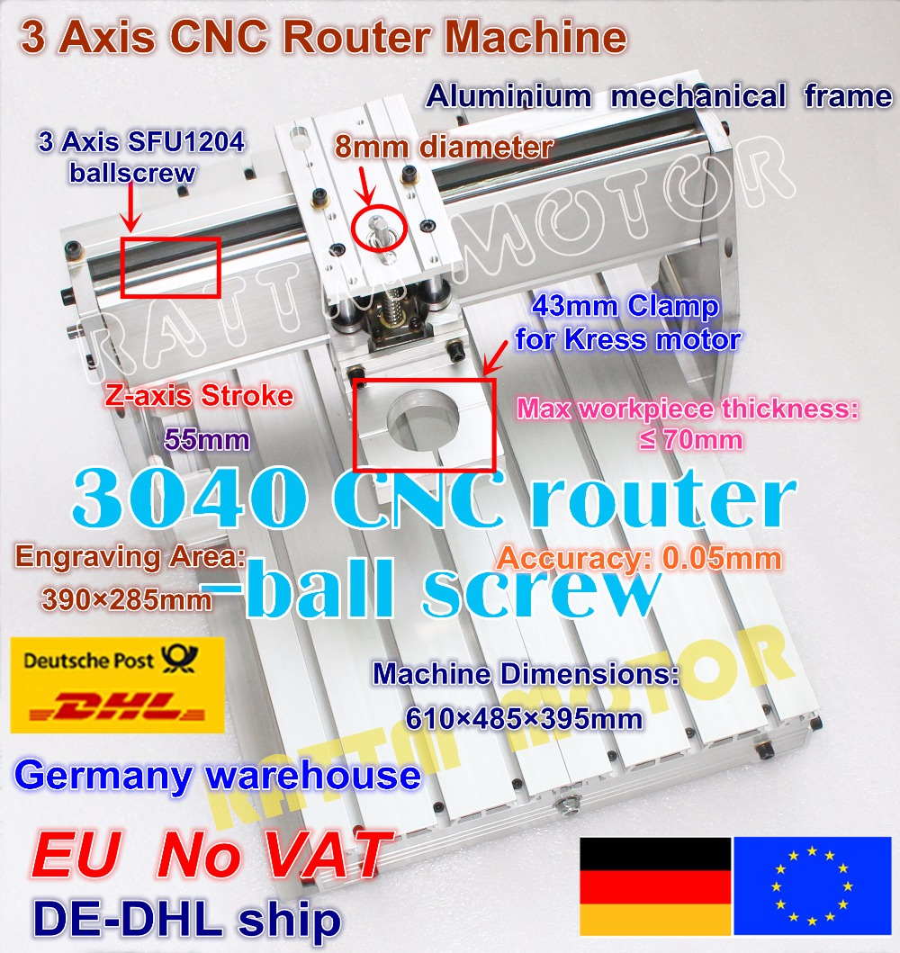DE ship/ Free VAT 3040 CNC Router Engraving Milling Machine Mechanical kit Frame ball screw with 43mm Neck Spindle Motor Mount free tax to russia cnc router milling machine 3040 800w spindle ball screw with usb adapter