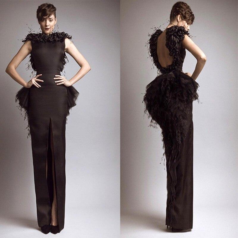 Élégant Noir A-ligne Fente Latérale Col Haut Dos Nu Longue Célébrité Couleurs Taille cando tant que votre condition mère de la mariée robe