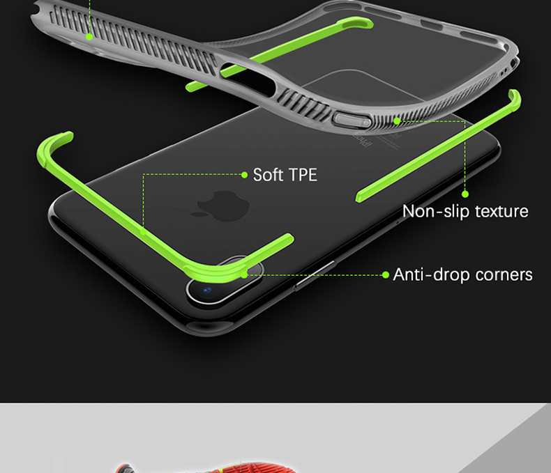 Military grade Anti-knock Case For iPhone X iPhone 7 case soft clear Transparent 2 in 1 TPU+TPE Cover for iPhone 6 6s 7 8 plus (3)
