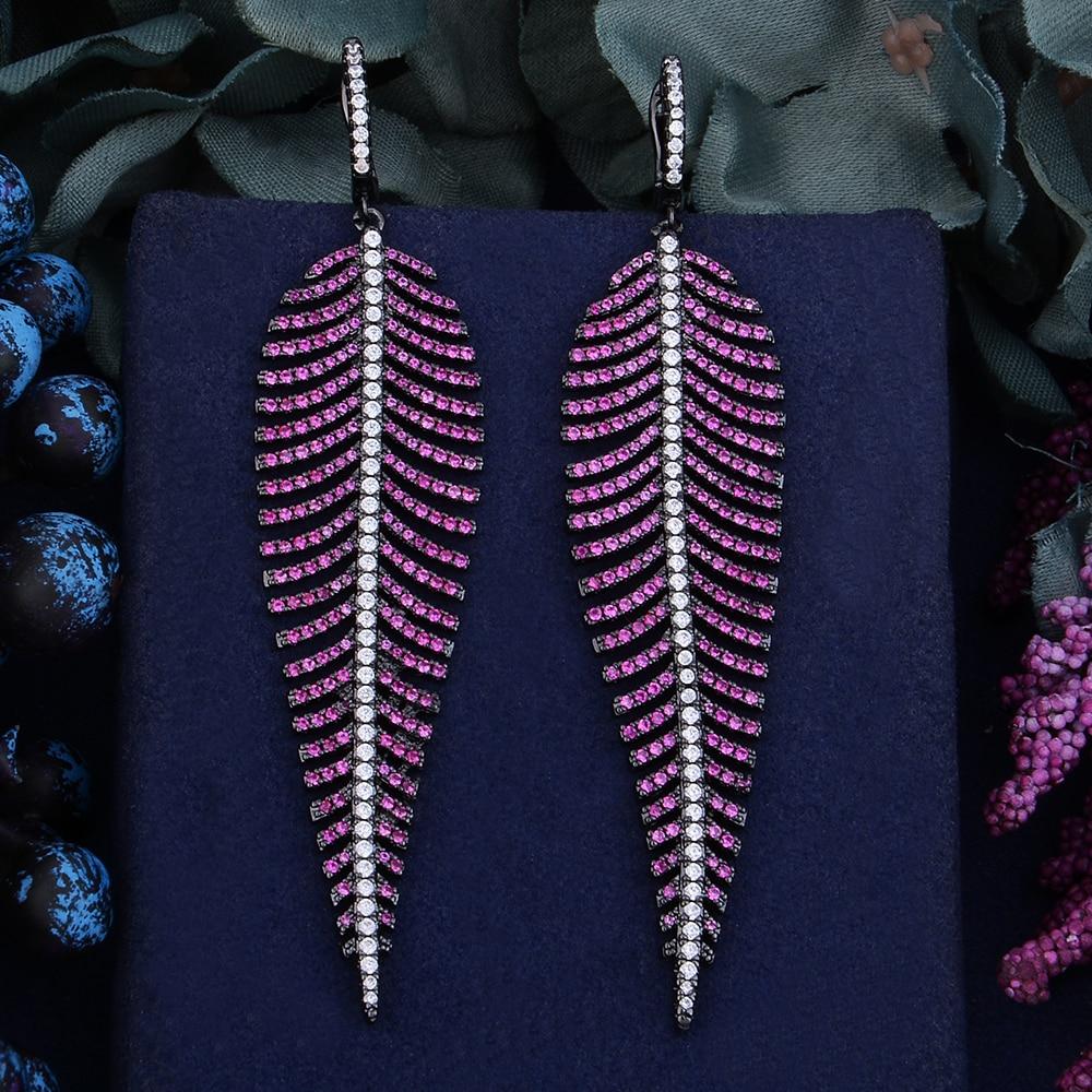 Godki 99mm luxo na moda folha de penas colorido zircônia cúbica  naija festa de casamento brinco moda jóias para mulherBrincos  compridos