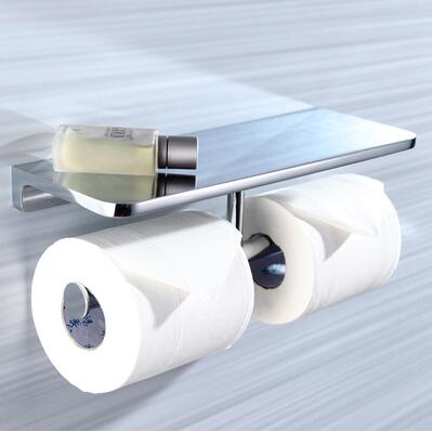 New top high quality solid Brass chrome Finish toilet paper holder bathroom mobile holder WC rod toilet paper holder luxury abs chrome plated toilet paper holder roller rectangle convenience durable wc bathroom accessories high quality vt606 z4