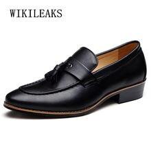 789404e218 Clásico italiano hombres zapatos de vestir formal de cuero marca de lujo  borla calzado masculino diseñador