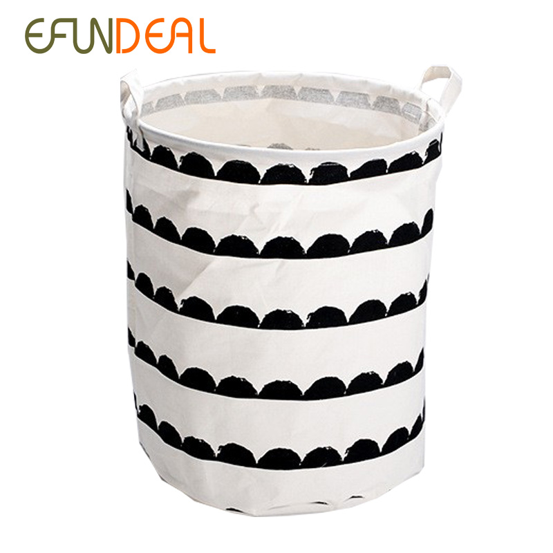 Cotton Linen Z Vintage Storage Laundry Basket Large Capacity White Black With Handle Crown Linenfold Bin40x50cm In Baskets From Home Garden On