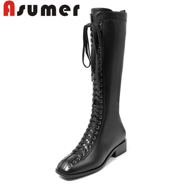 ASUMER 2018 NEW ARRIVE knee high boots for women fashion cross tied winter boots square toe simple pu+genuine leather bootsASUMER 2018 NEW ARRIVE knee high boots for women fashion cross tied winter boots square toe simple pu+genuine leather boots