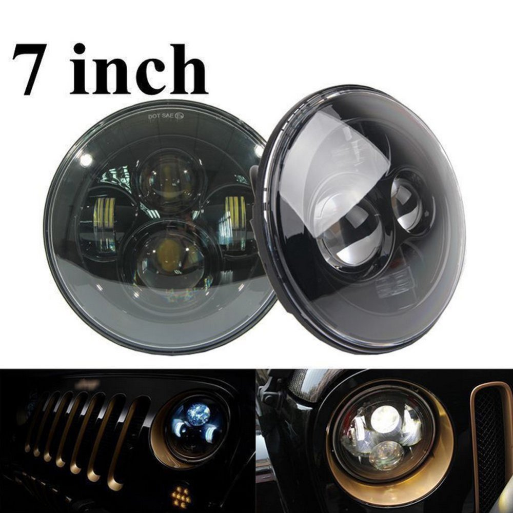 7'' Harley LED Headlight 40W 7 INCH Headlamp Kit Motorcycle Headlight Assembly for 97-15 JEEP Wrangler JK 4 Door OffRoad