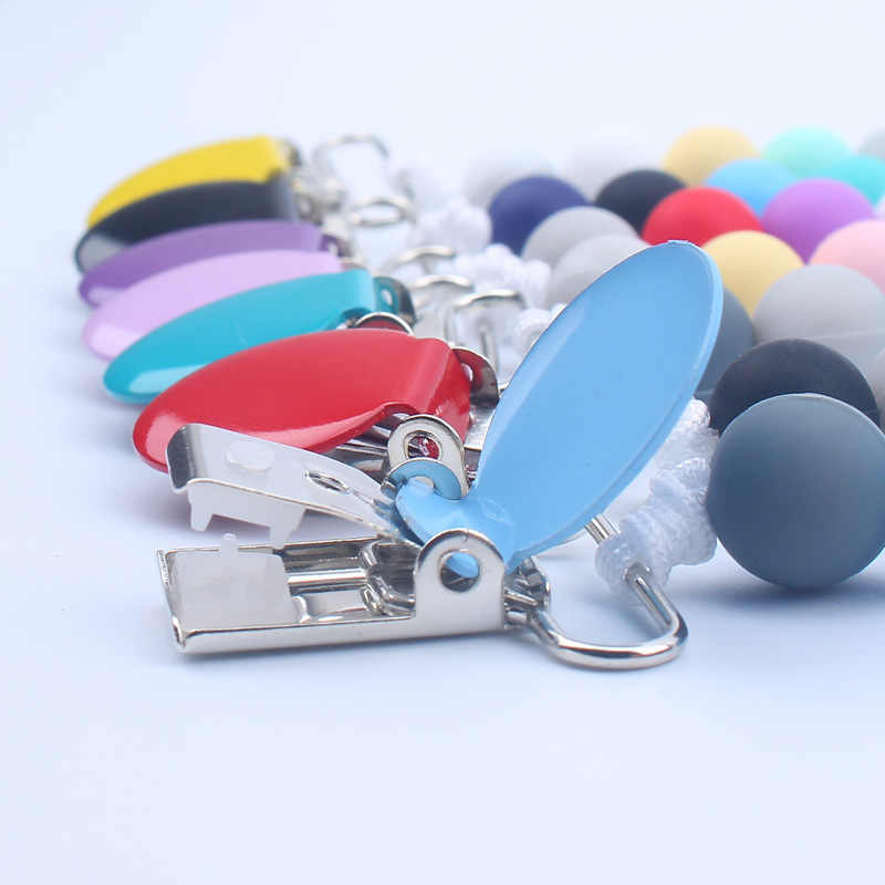 Metal Dummy clip pacifier chain holder silicone bpa free baby newborn gift