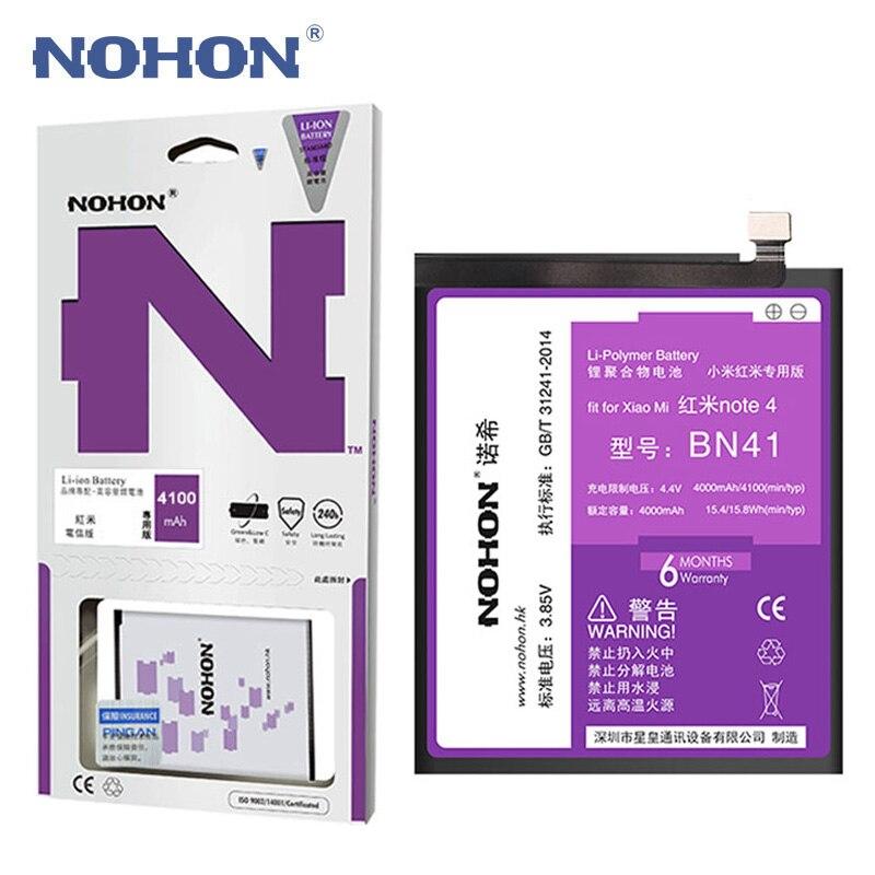 NOHON Batterie BN41 Pour Xiaomi Redmi Note 4/Note 4X Haute Capacité 4100 mah Mobile Téléphone Remplacement Batteries Livraison outils