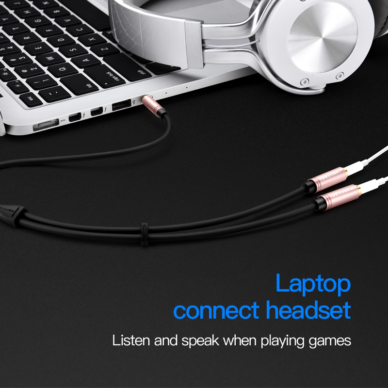Vention Earphone Extension Cable Jack 3 5mm Audio Cable Male to 2 Female Aux cable Headphone Splitter for iPhone 8 Samsung S8 PC