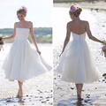 Simple Pure White Wedding Dresses Strapless A-Line Cheap Wedding Dresses Sleeveless Backless Mid-Calf Dresses For Wedding