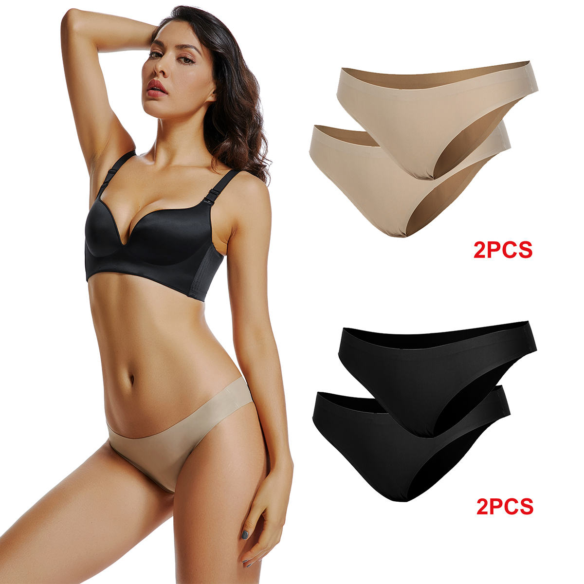 Briefs Panties for Women Seamless Mid Rise Full Coverage Hipster Quick Dry No Show Underwear 2 Pack