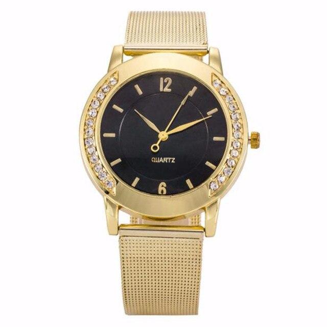 Fashion 2019  Crystal Golden Stainless Steel Analog Quartz Wrist Watch Quartz Wrist Watches Women Bracelet Watch luxury #15