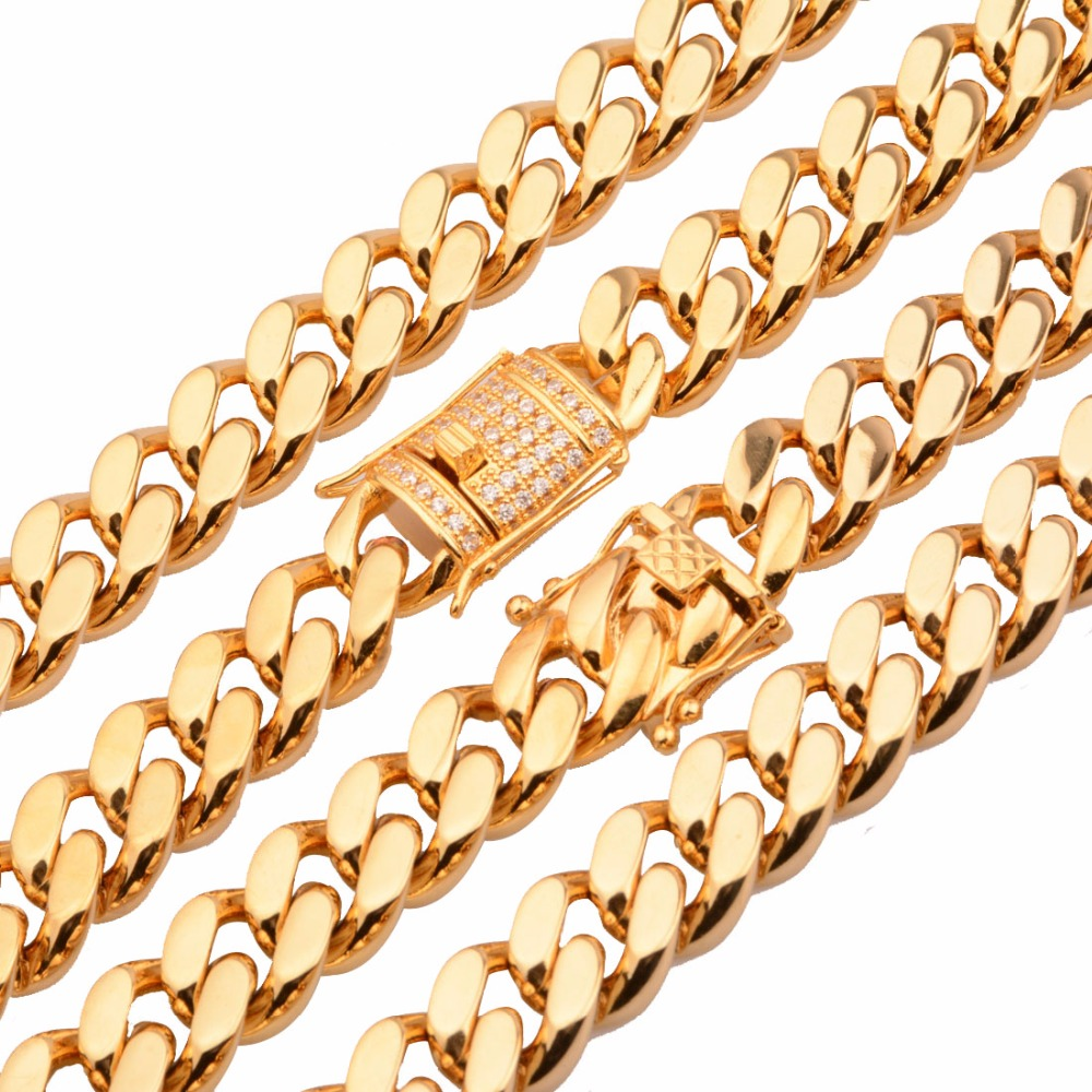 Top Quality 15mm Gold Color Cuban Chain Necklace Or Bracelet Custom Size 7-40inch For Biker Men's Stainless Steel Miami Chain