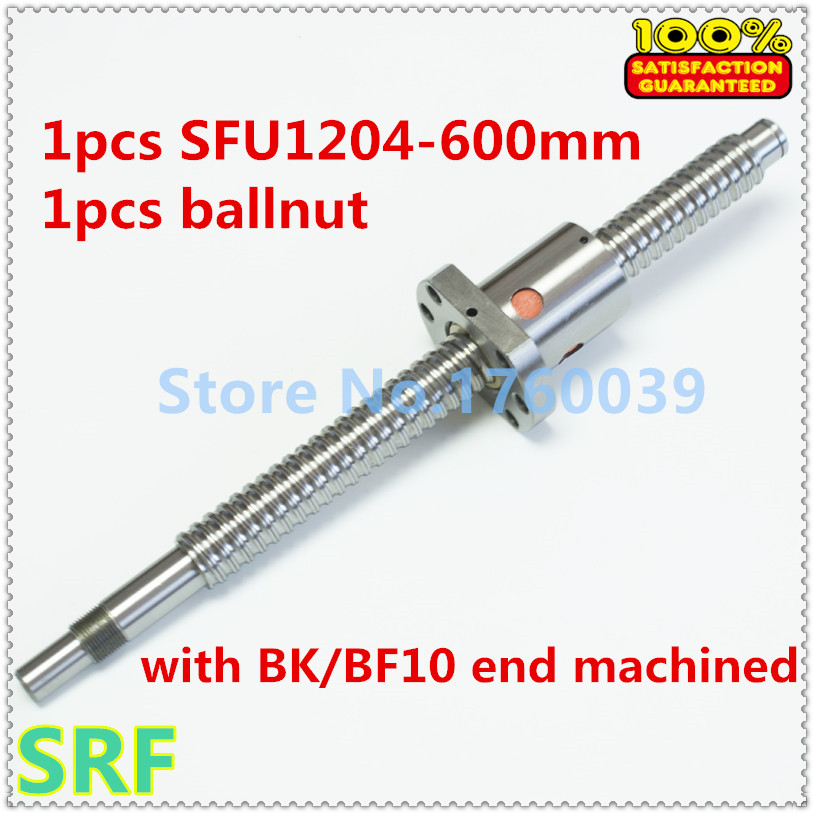 12mm  SFU1204 Rolled Ball screw set:1pcs ballscrew length 600MM +1pcs ballnut with BK/BF10 end processing for CNC parts hot sale 1pcs 1604 rolled ball lead screw length 600mm 1pcs sfu1604 single ballnut 1set bk bf12 ballscrew end support cnc