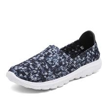 EOFK 2019 Summer Breathable Women Woven Shoes Handmade Elastic Woven Flat Slip On Blue Gingham Shoes Woman