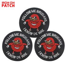 Ugandan Knuckles Follow Me Brudahs I Know De Wae Vest Patch DIY Tactical Badges For Backpack  Black Meme Military PATCH bosch wae 24165