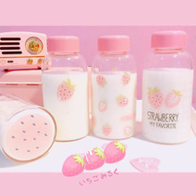 Summer Cute Strawberry Transparent Glass Bottles Portable Cover Student Hand Milk Bottle Ins Girl Heart Cold Water
