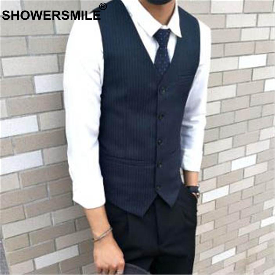 SHOWERSMILE Stripe Slim Fit Suit Vest Men Blue Smart Casual Dress Vests Male British Style Sleeveless Jacket Autumn Waistcoat