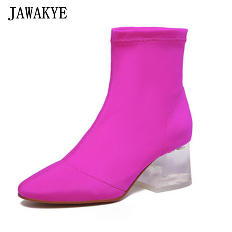 JAWAKYE designer Ankle Boots for women rose black transparent PVC clear middle Heels short botas mujer stretch sock shoes JAWAKYE designer Ankle Boots for women rose black transparent PVC clear middle Heels short botas mujer stretch sock shoes