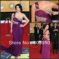 Celebrity Dress Custom Made Kim Kardashian Sexy Sweetheart One Shoulder Pleated Beading Bodice Purple Chiffon Red Dress