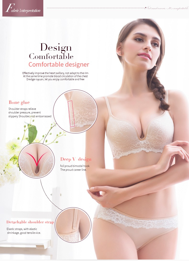 PAERLAN Seamless Wire Free lace bra small breasts Push Up One - Piece sexy Back Closure Tow Hook - and - eye underwea Women Cup 8
