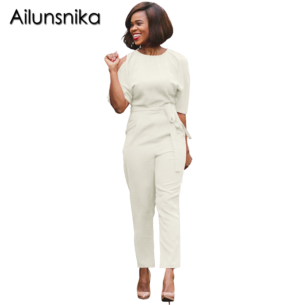Ailunsnika Cut Out Half Sleeve Jumpsuits with Belt For Women Sexy Backless O Neck Ladies Fashion Party Rompers combinaison femme