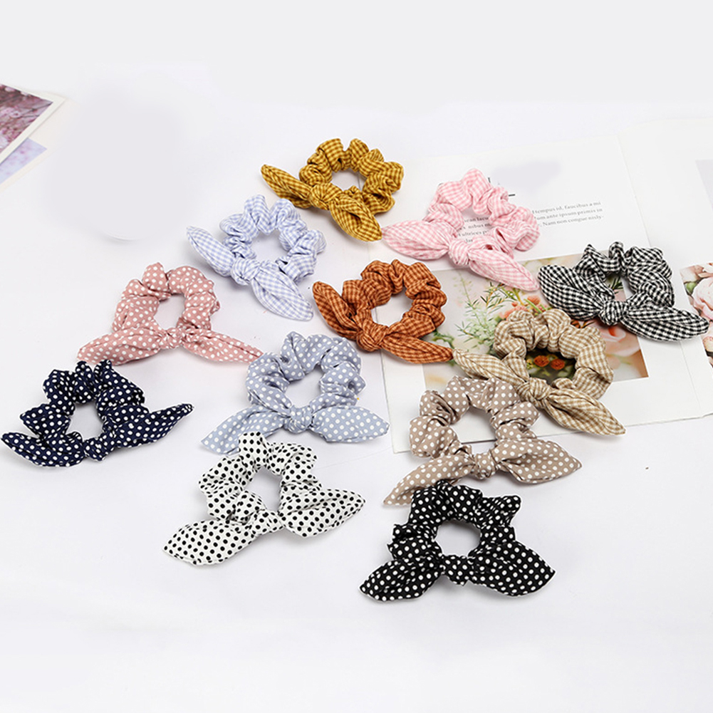 Dot Elastic Hair Bands Rabbit Ear Knot Bow Hair Band Tie Rope Elastic Ponytail Scrunchie Headwear Elastic Hair Bands Plaid New in Women 39 s Hair Accessories from Apparel Accessories
