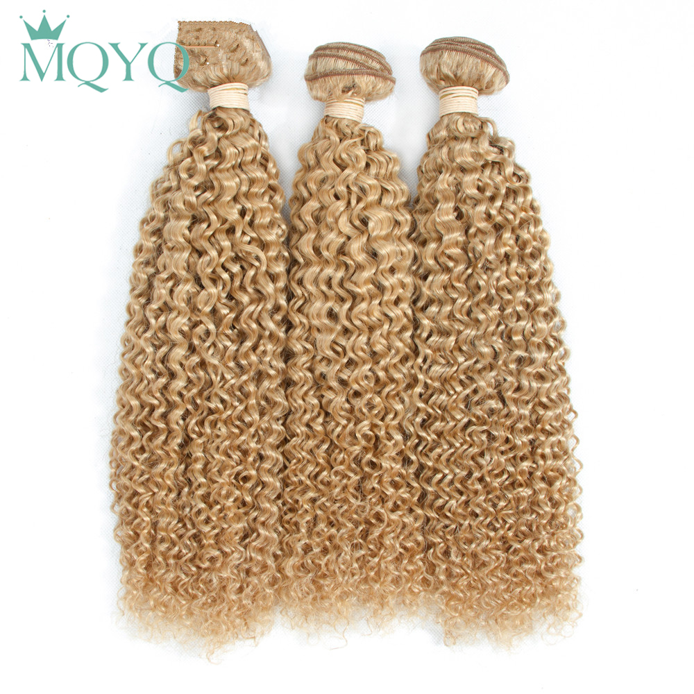 MQYQ Российской Вьющиеся Связки 100% человеческих Инструменты для завивки волос странный вьющиеся волосы расширения переплетения #27 Блондинка...