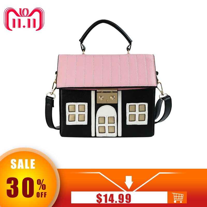 Women Personality House Shaped Messenger Bags PU Leather Crossbody Bag for Ladies Girl Casual Mini Messenger Bag Handbags 2018 cylinder shaped mini crossbody bag